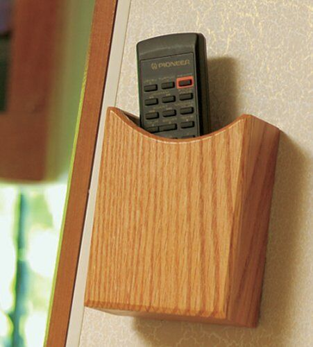 Wall Mount Remote Control Holder Solid Oak Wood Accent