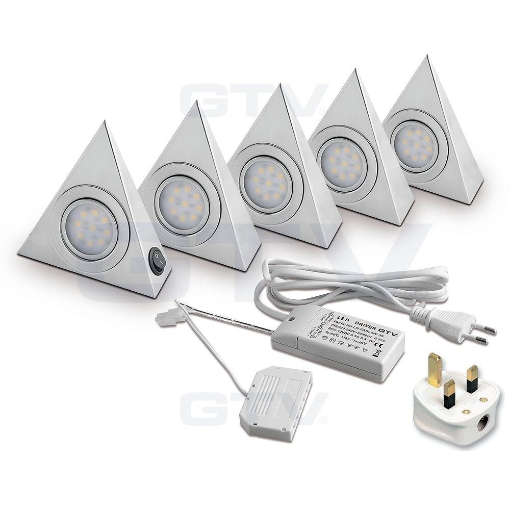 LED Triangle Brushed Kitchen Under Cabinet Light Set/Kit
