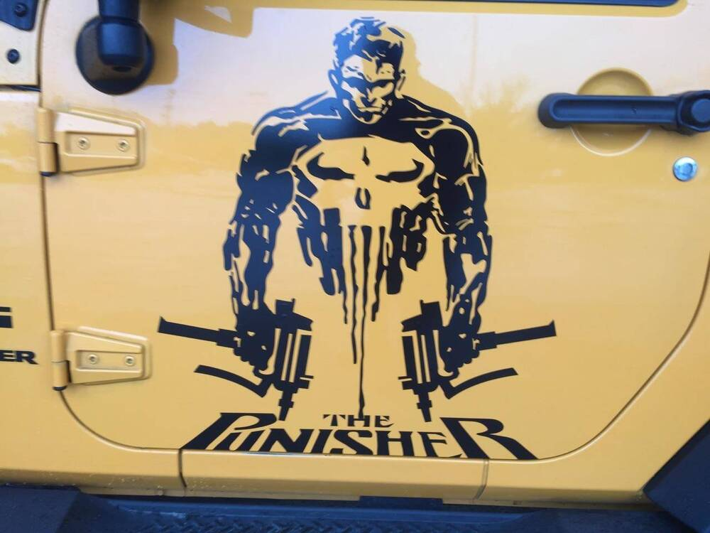 Truck Stickers For Back Window >> PUNISHER SKULL & WORDS VINYL DECAL HOOD SIDE FOR CAR TRUCK ...