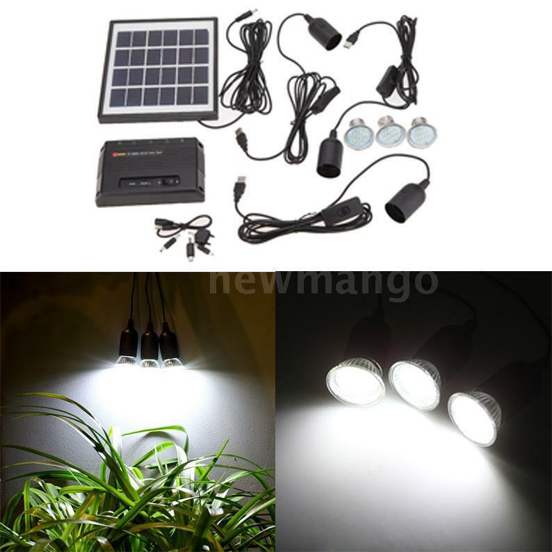 Outdoor Solar Powered Led Lighting Bulb System Solar Panel Home System Kit NM