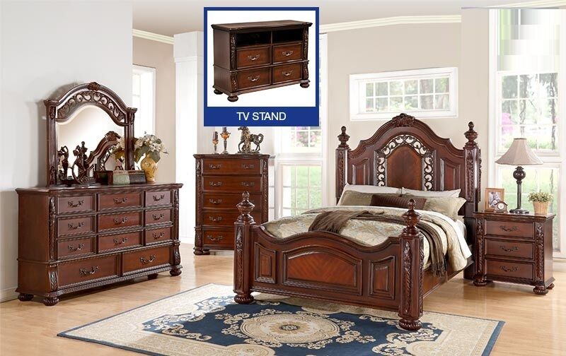 Antique Traditional Formal Dark Cherry 4 Pc Bedroom Set Queen Size Bed Furniture Ebay
