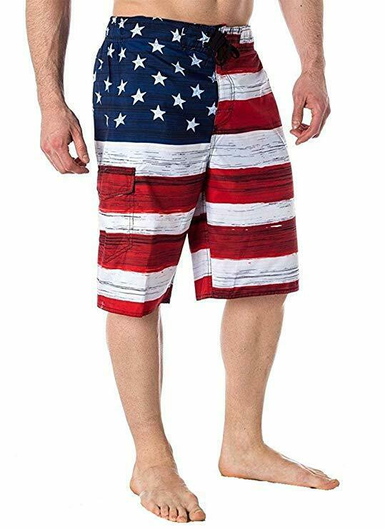 These USA flag swimming trunks are awesome. For the price, the quality is great. Nice colors and comfortable mesh interior. I got a size large and they fit me perfectly at 5'10