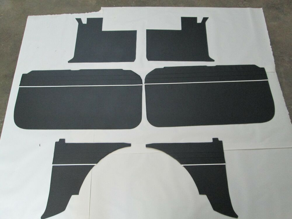 new 6 piece interior panel set w door panels mgb 1965 1967 black w white piping ebay