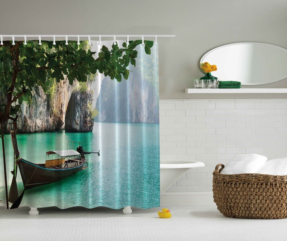 blue green tropical island paradise boat beach fabric shower curtain bathroom 784411238480 ebay. Black Bedroom Furniture Sets. Home Design Ideas