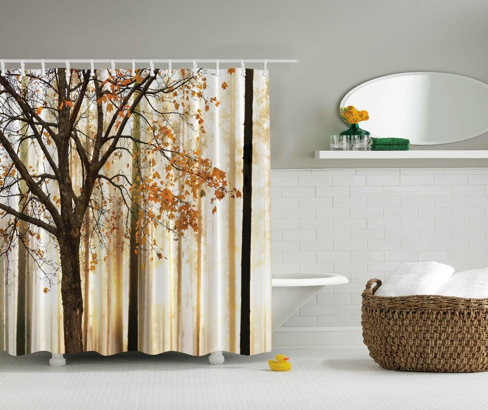 Photo Of Autumn Tree Forest Fabric Nature Shower Curtain Digital Art Bathroom