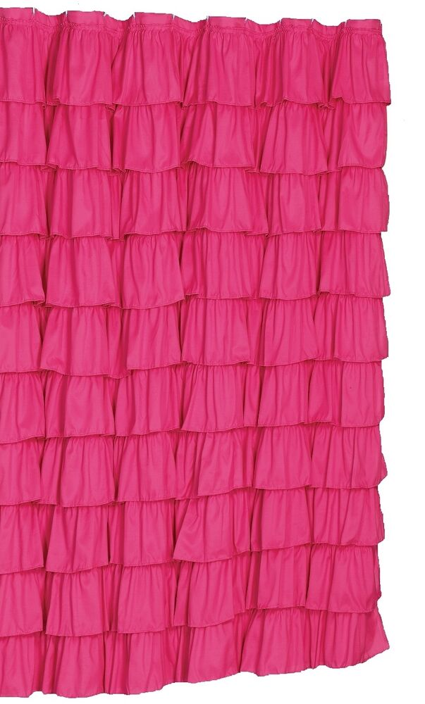 ruffle fabric shower curtain color pink ebay. Black Bedroom Furniture Sets. Home Design Ideas