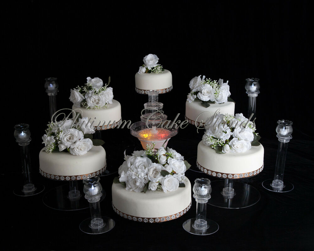 5 tier cascade wedding cake stand stands set 6 tier cascade wedding cake stand w amp 6 votive 10453