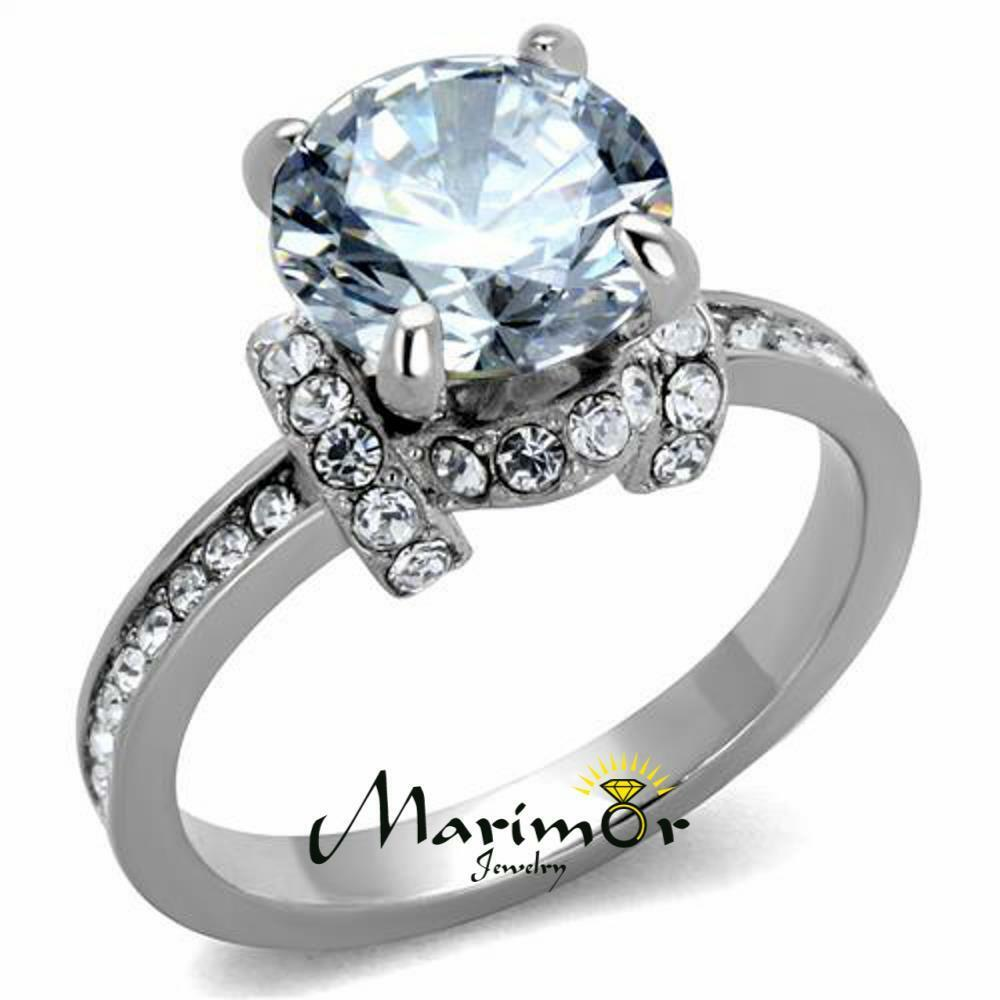 Sparkling 3 Ct Round Cut Cz Stainless Steel Engagement ...