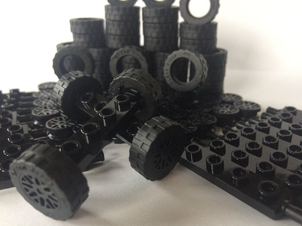 lego new pieces car parts 100 pcs black wheels tires axles rims race big truck ebay. Black Bedroom Furniture Sets. Home Design Ideas