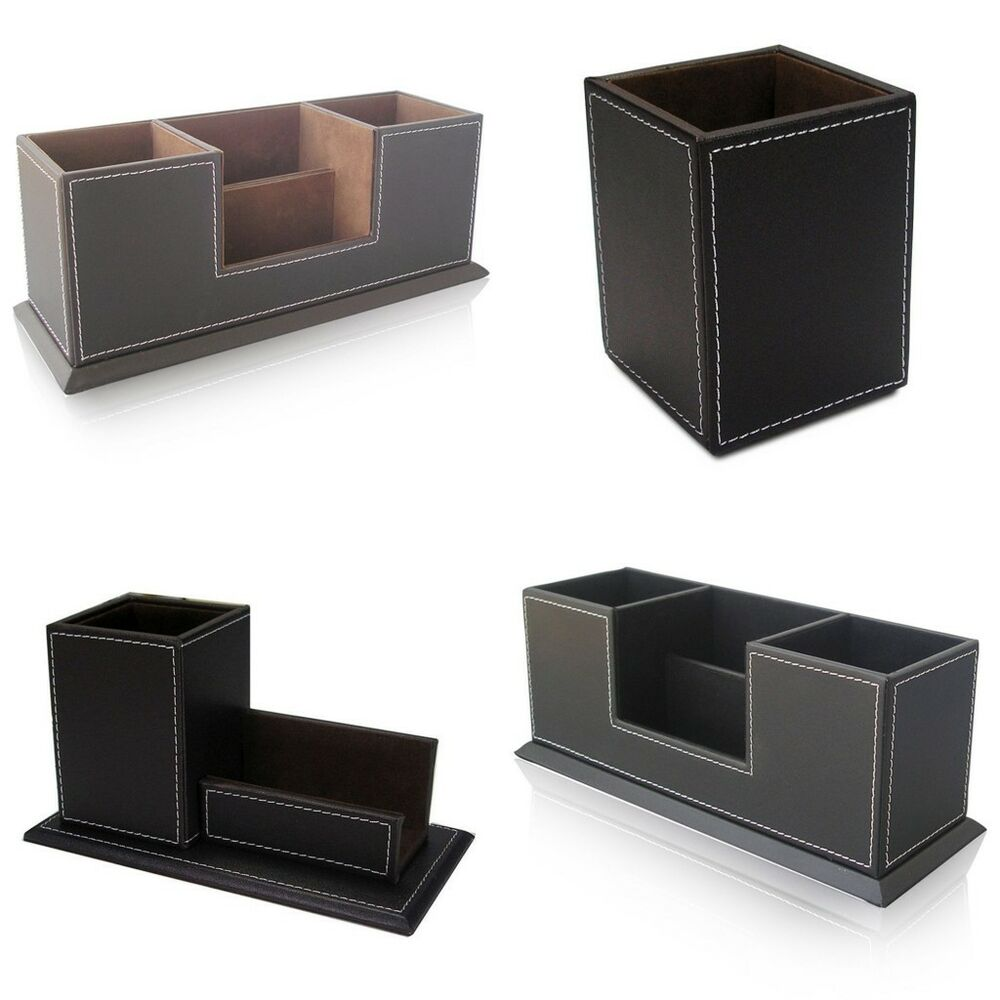 Office desktop decor faux leather stationery organizer pens holder storage box ebay - Desk stationery organiser ...