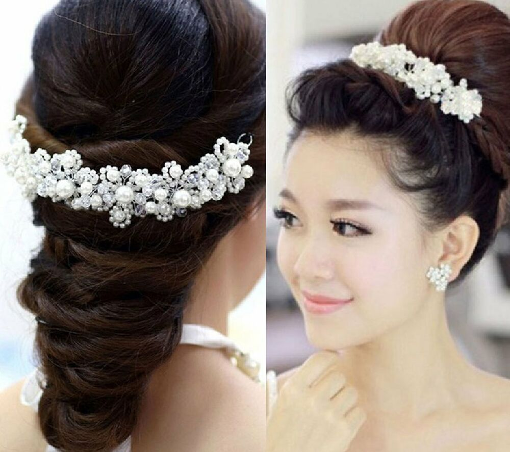 tiara diadem blumen perlen strass haarschmuck kopfschmuck braut hochzeit schmuck ebay. Black Bedroom Furniture Sets. Home Design Ideas