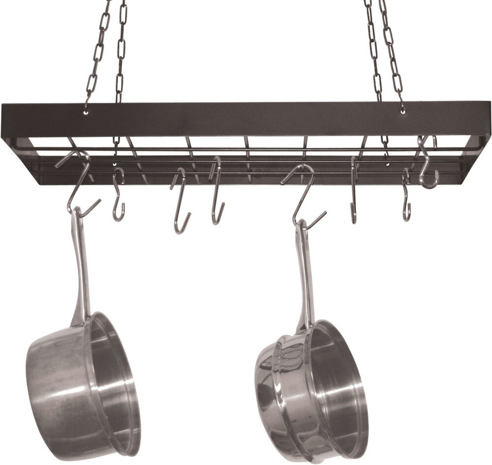 Hanging pot rack hooks kitchen ceiling hanger storage for Pot racks for kitchen