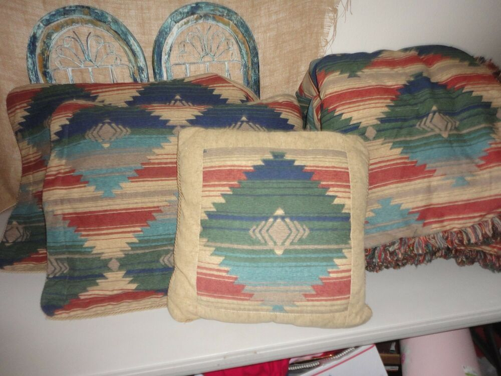 Jcp penney southwestern 3pc queen comforter set green clay gold