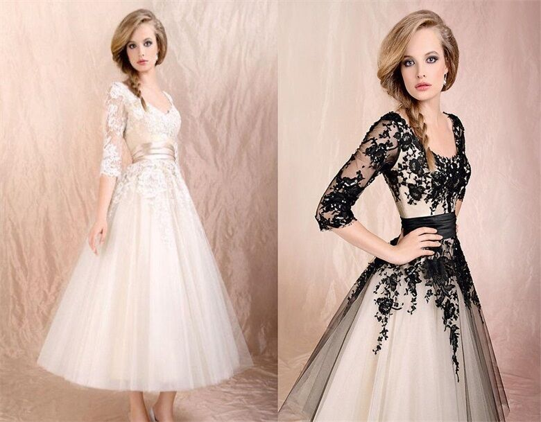 Vintage Wedding Dresses 3 4 Sleeve : Vintage applique sleeve tulle tea length wedding dress