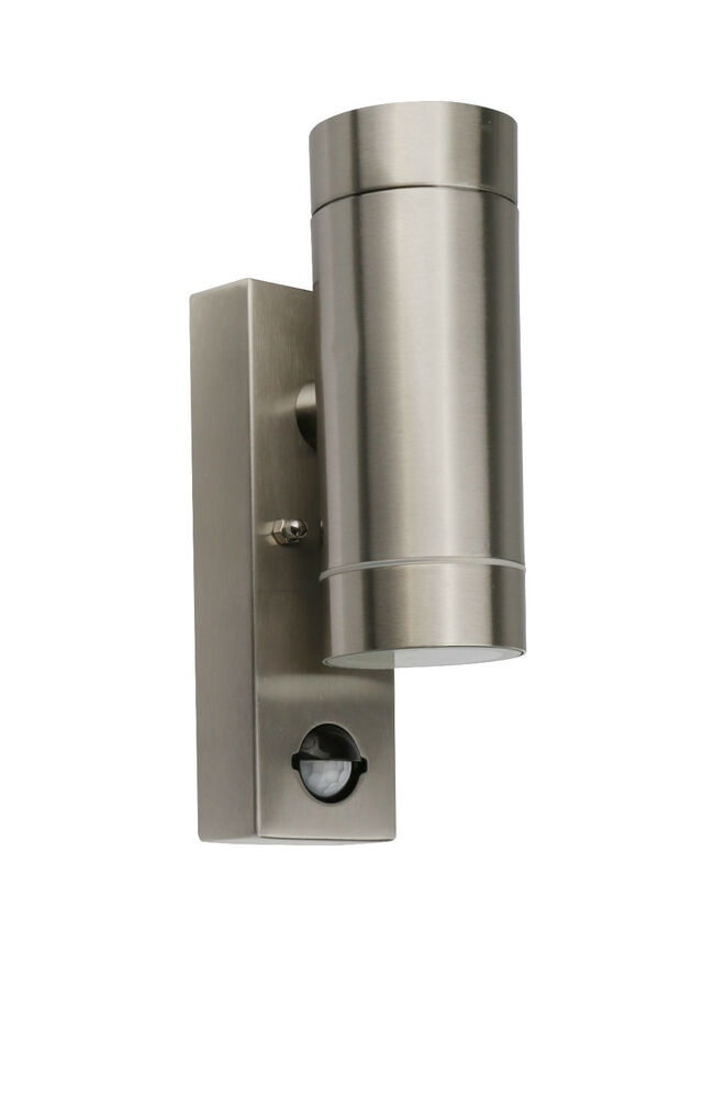New PIR Wall Mounted Up and Down Outside or Indoor Light Stainless Steel IP44 eBay