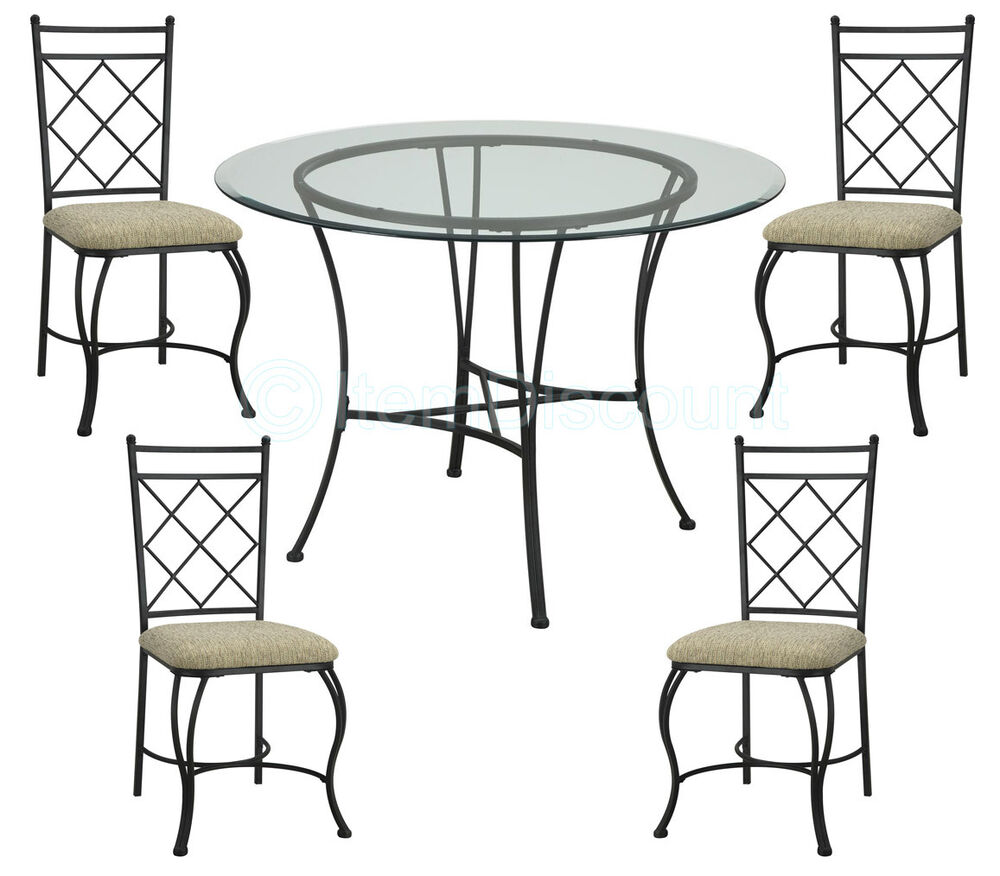 Round Dinette Tables: 5 Piece Glass Top Dining Round Kitchen Table Set Chairs