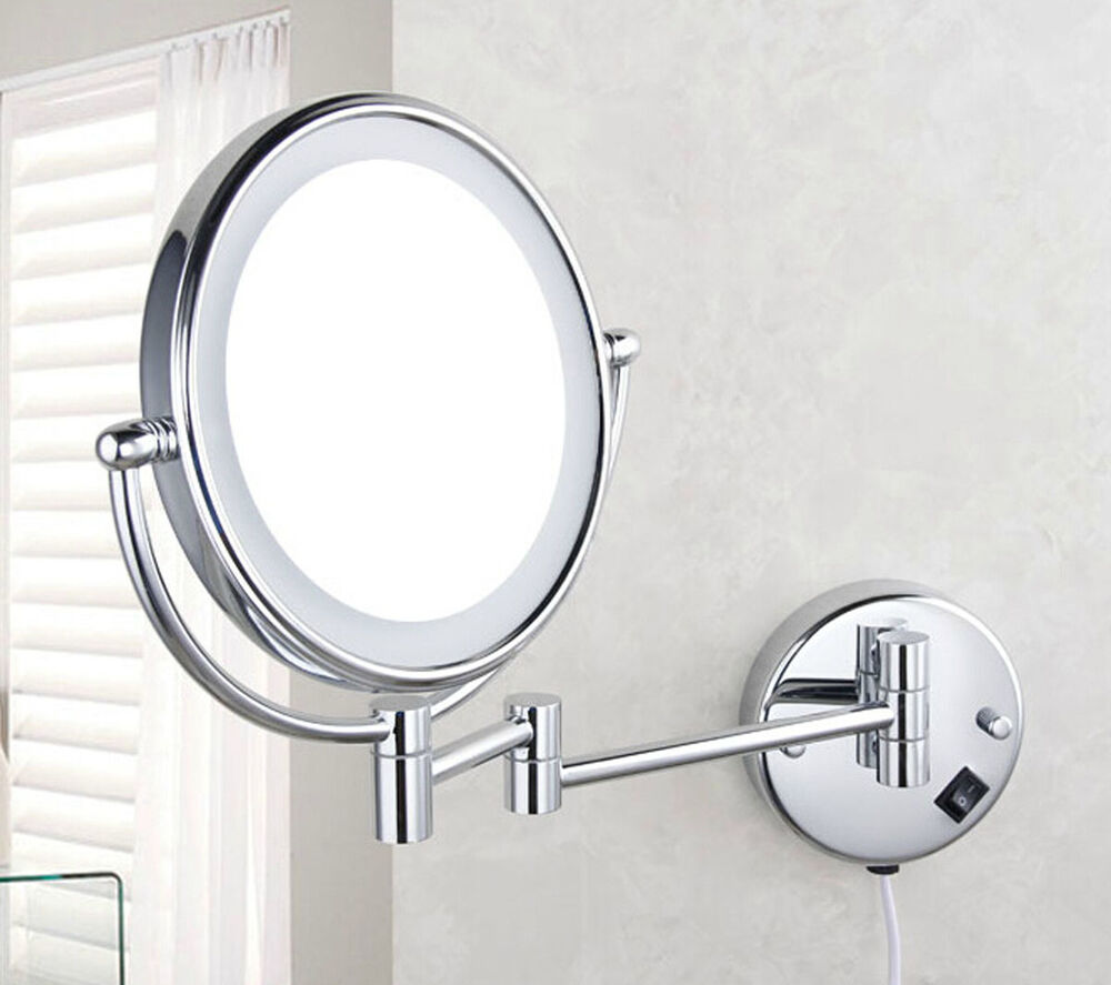 wall mount lighted dual sided makeup mirror magnifying led mirrors. Black Bedroom Furniture Sets. Home Design Ideas