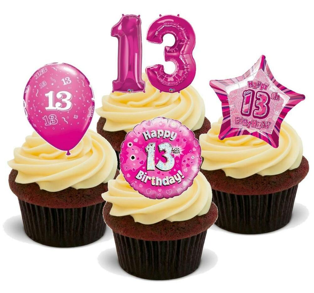 NOVELTY 13TH BIRTHDAY PINK MIX 12 STAND UP Edible Cake Toppers Thirteen Teenager 5055888734146