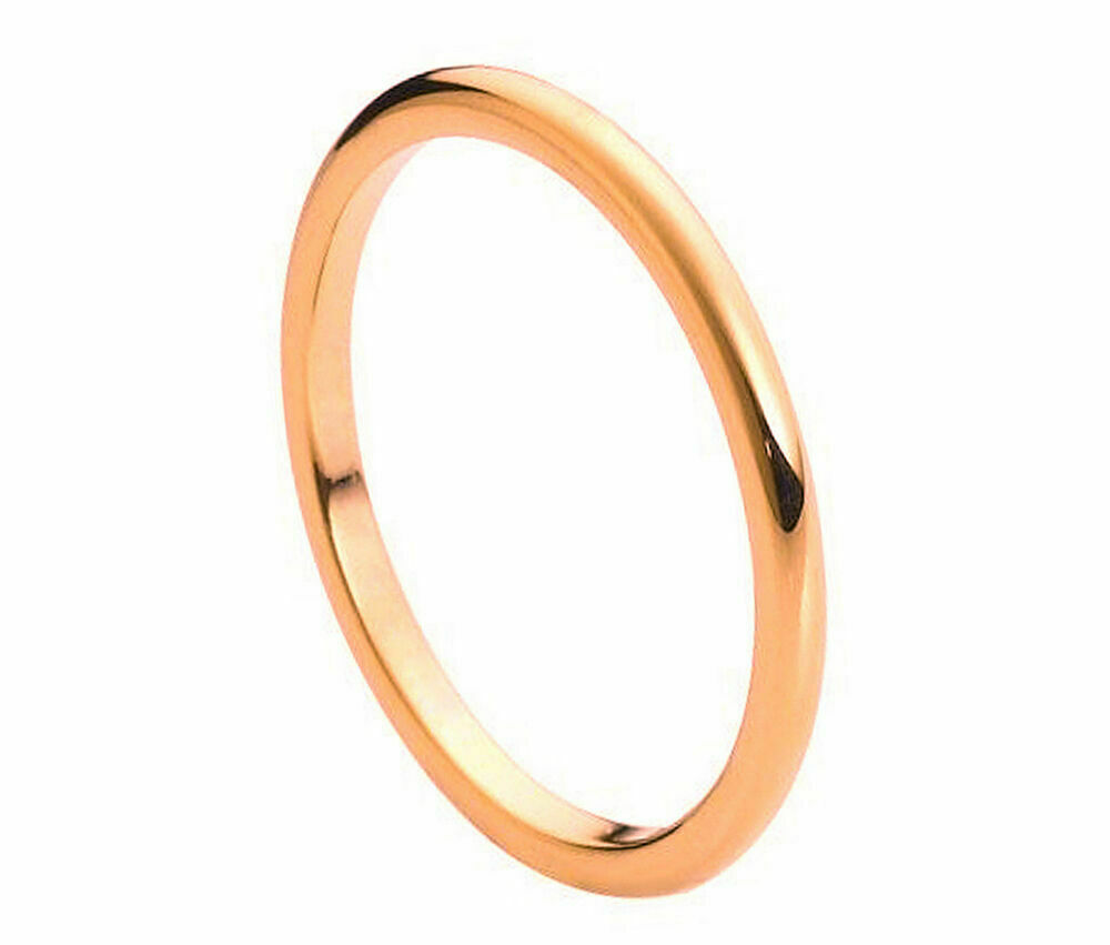Gold Plated Wedding Rings: 2mm Men's Or Ladies Tungsten Carbide Rose Gold Plated