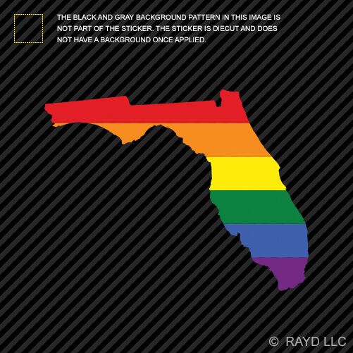 Florida State Shaped Gay Pride Rainbow Flag Sticker Vinyl