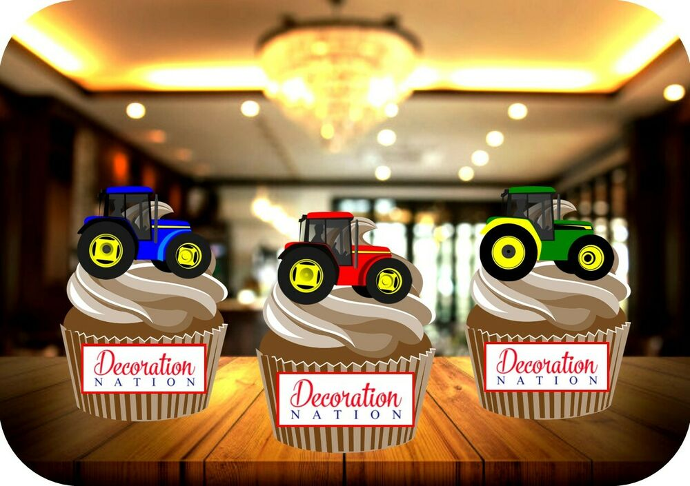 NOVELTY TRACTOR MIX A 12 STAND UP Edible Cupcake Cake Toppers ...