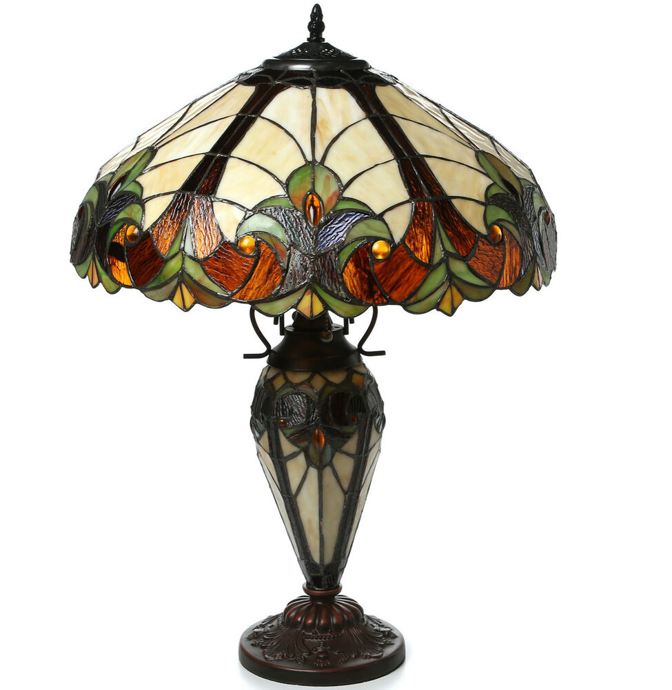 handcrafted tiffany style victorian table lamp stained glass ebay. Black Bedroom Furniture Sets. Home Design Ideas