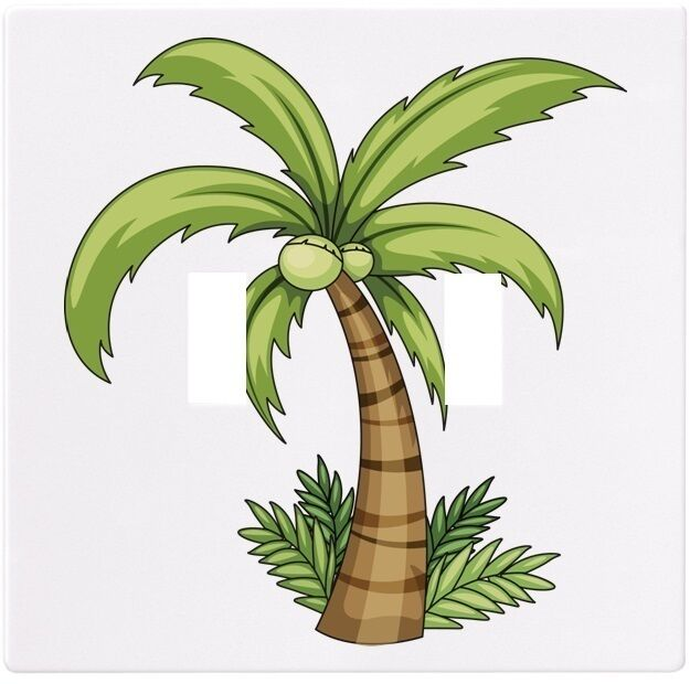 Palm Tree With Grass Wallplate Wall Plate Decorative Light