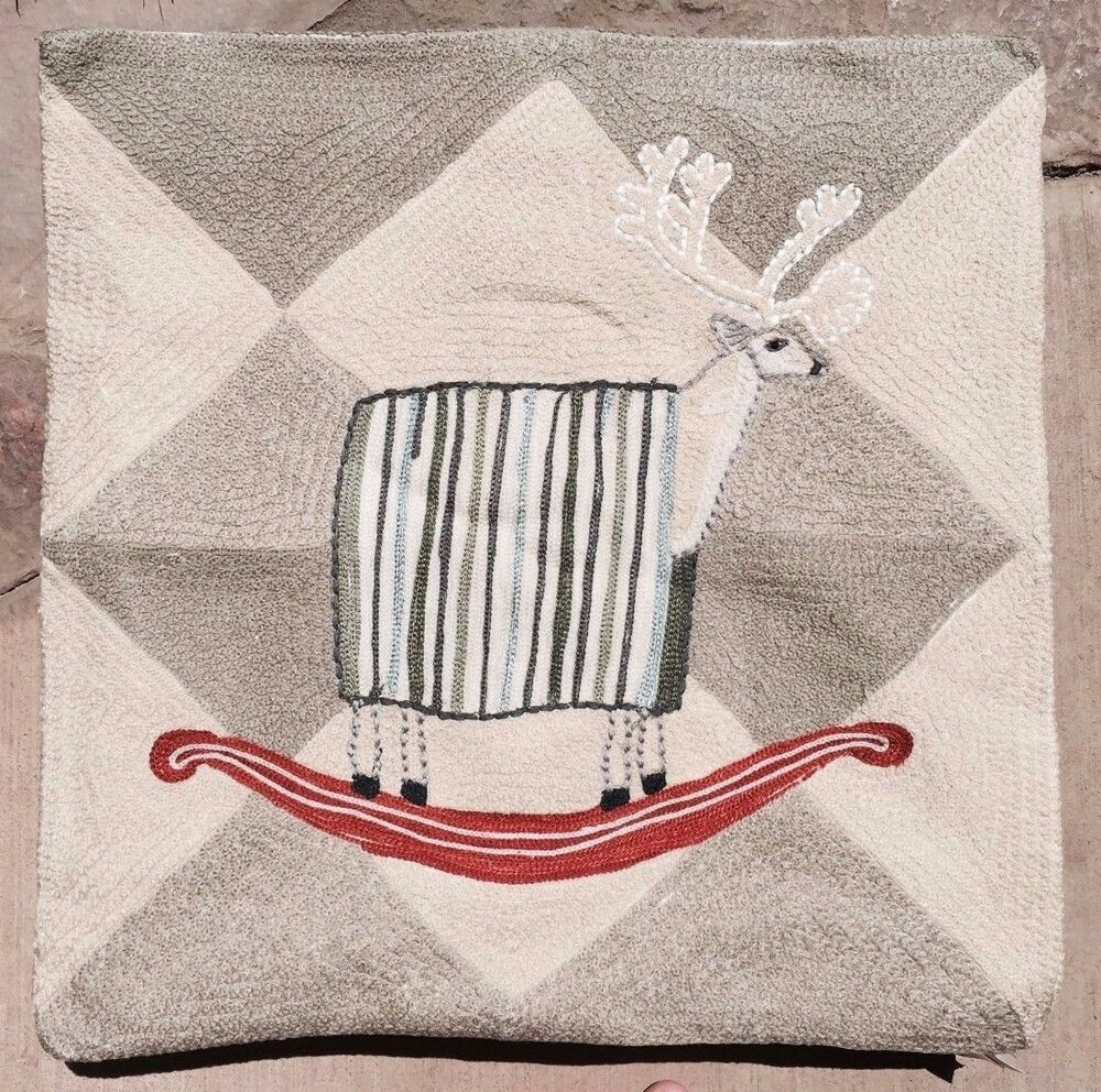 Pottery Barn Pb: ROCKING REINDEER CREWEL EMBROIDERED PILLOW