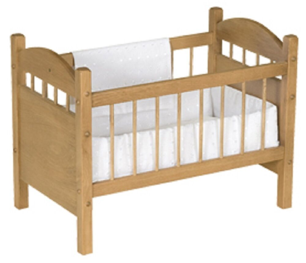 18 Toy Baby Doll Crib Bed Handmade Bedding Oak Wood Furniture Natural Oak Ebay