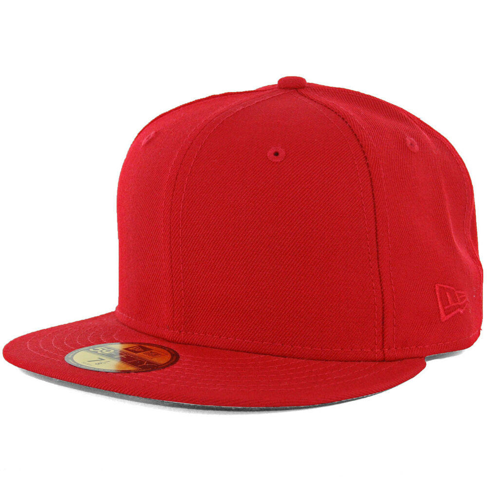 New Era Plain Tonal 59Fifty Fitted Hat (Scarlet Red) Men's ...