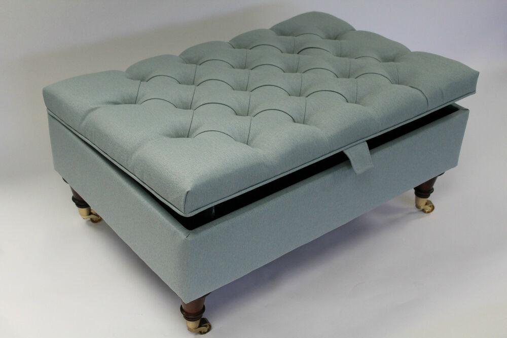 Chesterfield thickly upholstered coffee table storage for Storage ottoman seat