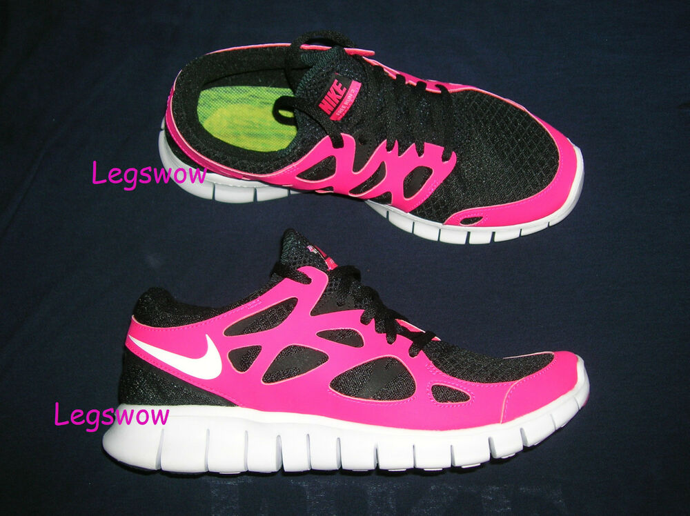 nike free run 2 running shoes sneakers black pink womens. Black Bedroom Furniture Sets. Home Design Ideas