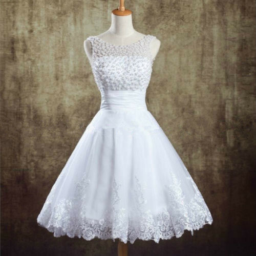 New white ivory tea length short vintage lace wedding for Ebay wedding dresses size 12
