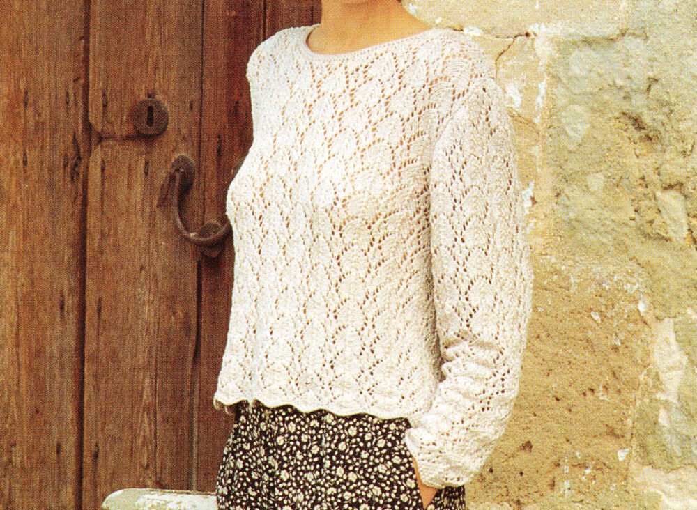 Knitting PATTERN -Ladies Double Knitting full lacey Jumper- fits 34-40 chest ...