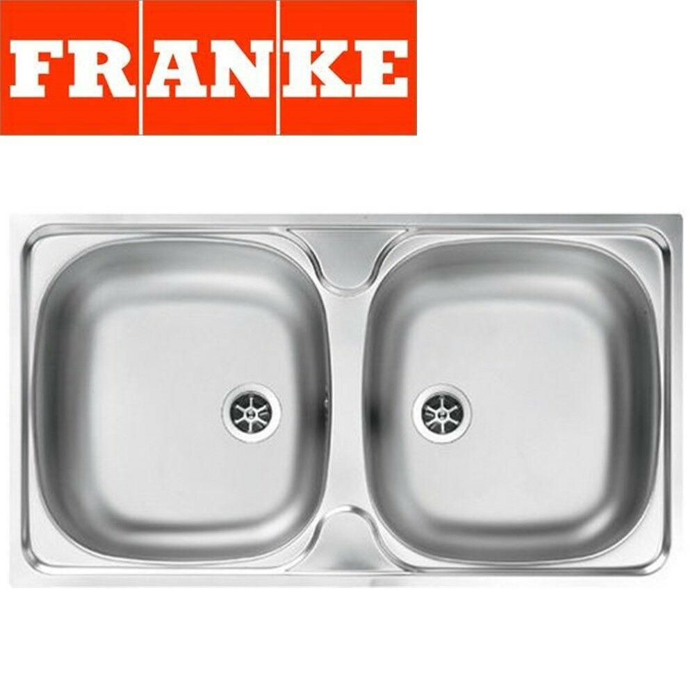 Franke Double Bowl Kitchen Sink : FRANKE DOUBLE 2.0 BOWL DRAINER & WASTE STAINLESS STEEL SQUARE KITCHEN ...