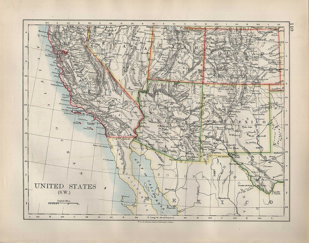 1904 antique map united states south west california for California chiude l utah