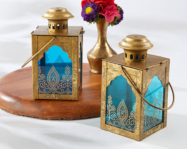 10 Boho Moroccan Indian Jewel Gold Blue Candle Lantern