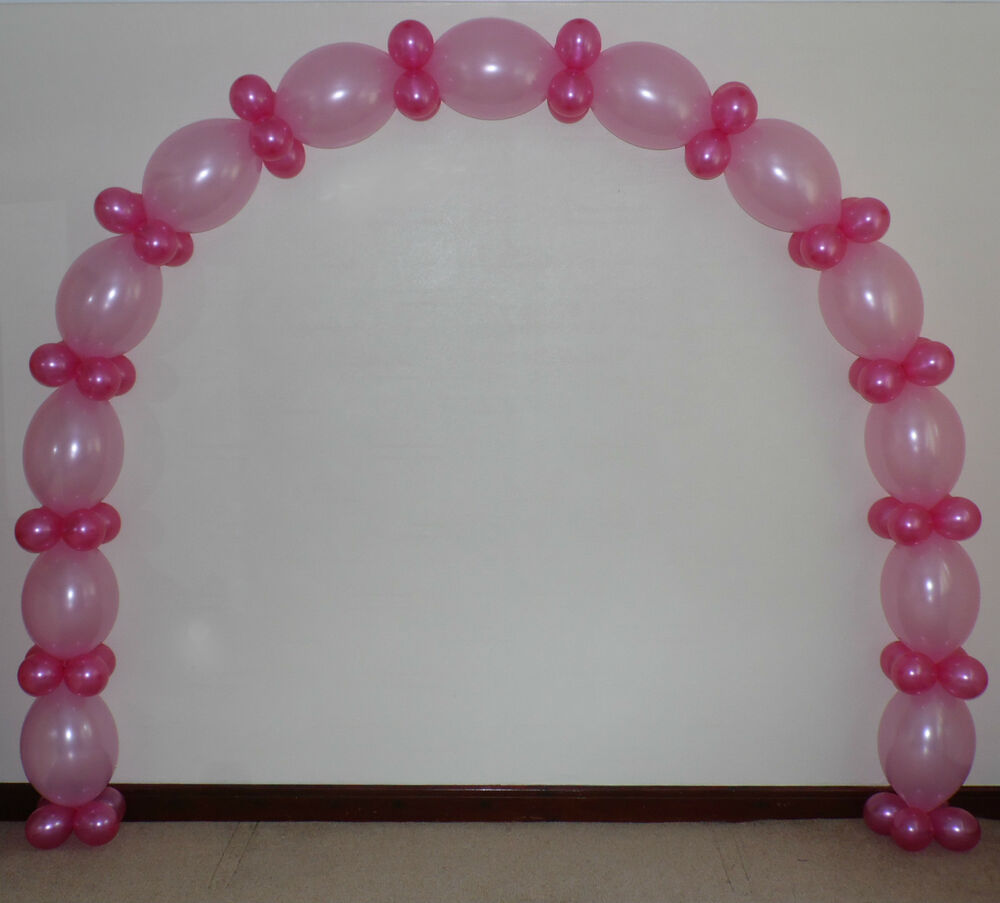 Christening girl pink link balloon arch floor decoration for Air filled balloon decoration ideas