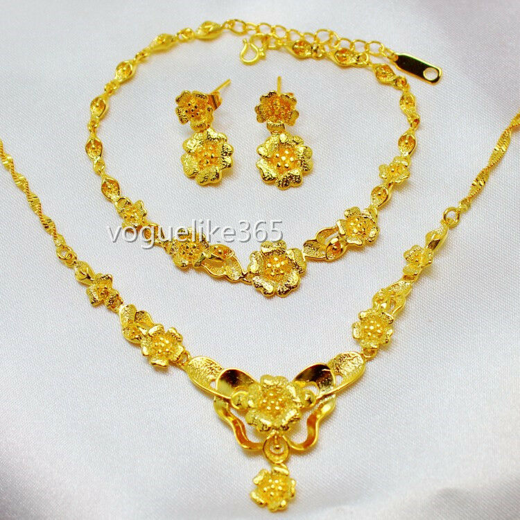 Women 24k yellow gold filled flower necklace bracelet for Gold filled jewelry