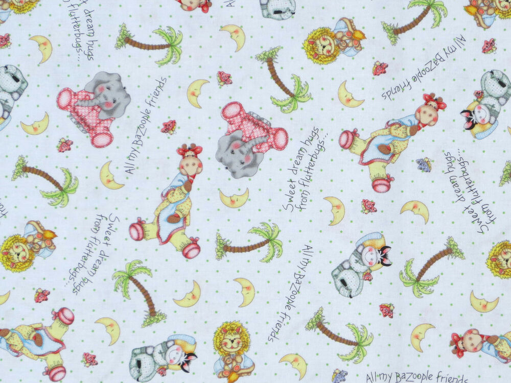 Bazooples sweet dreams animal toss 100 cotton fabric for Nursery fabric uk