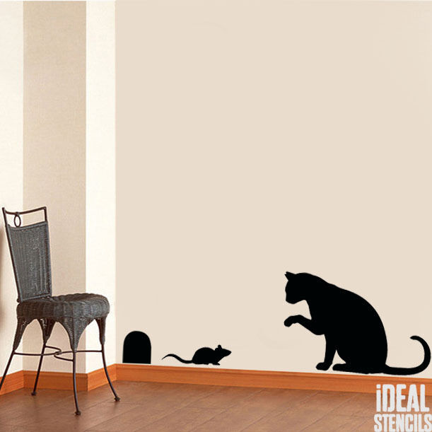Cat and mouse stencil wall decor art craft painting for Stencil wall art