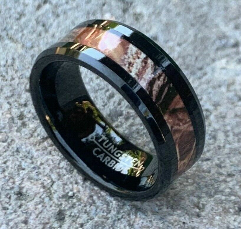 military wedding rings 8mm men s or ladie s tungsten carbide w camo 5898
