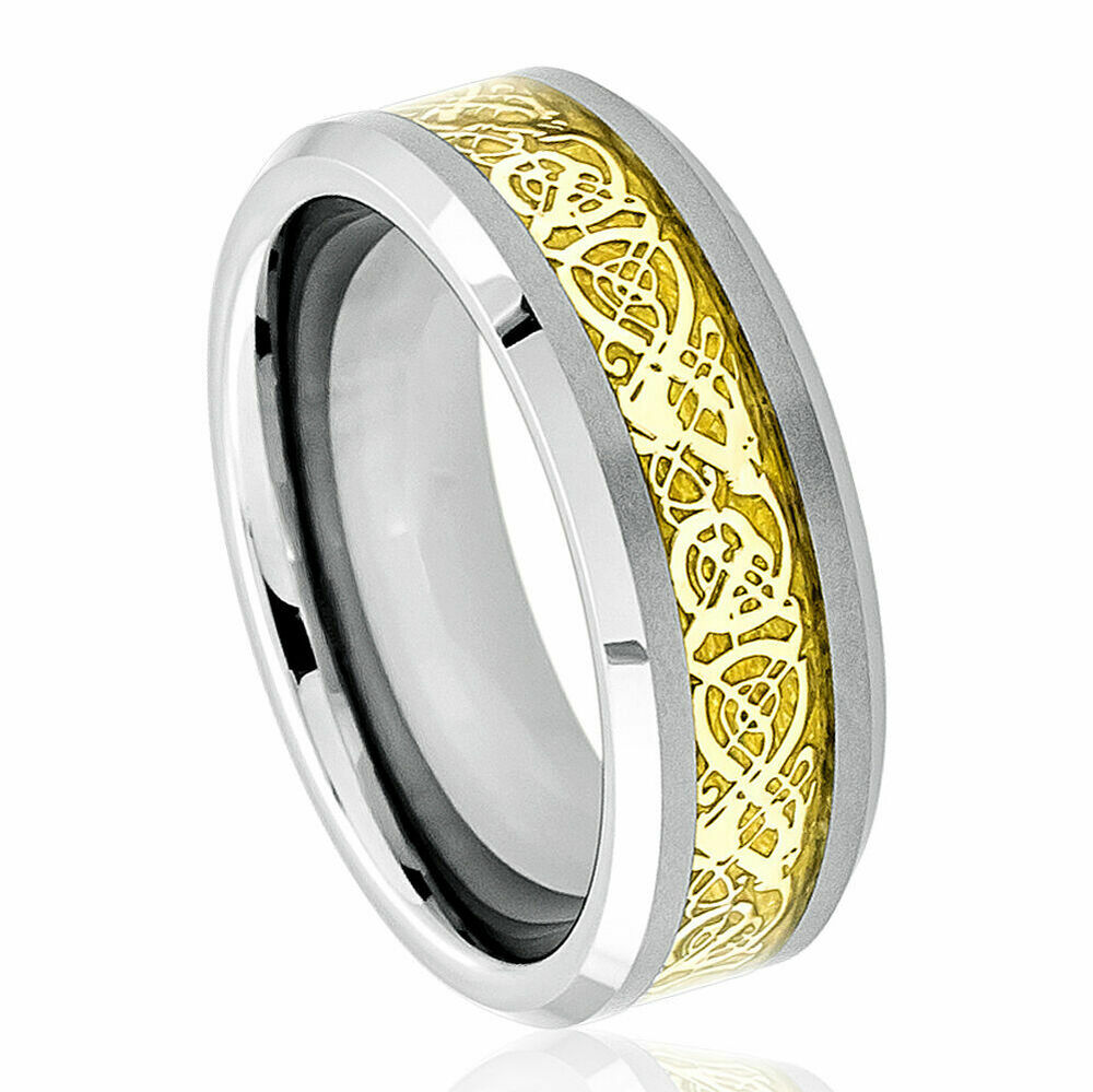 8mm men 39 s or ladie 39 s tungsten carbide celtic knot dragon inlay wedding band ring ebay. Black Bedroom Furniture Sets. Home Design Ideas