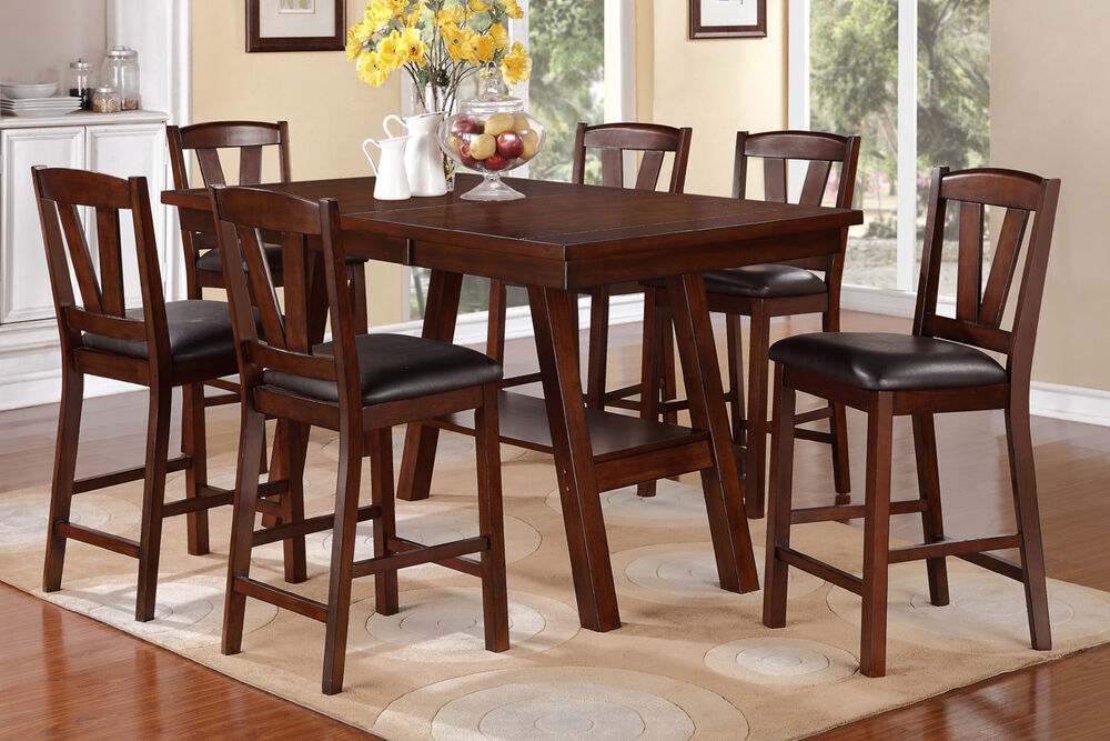dark walnut 7 pc dining set counter height dining table