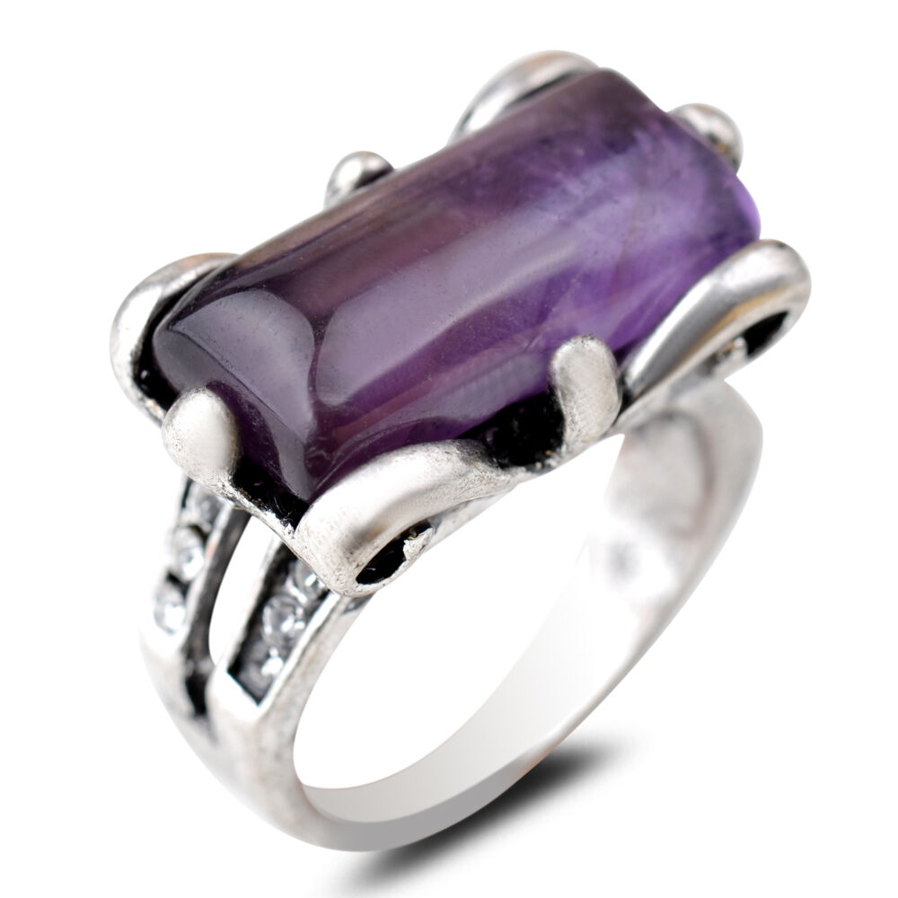 Fashion Uni Jewelry Vintage Silver Natural Amethyst Jade Stone Wedding Rin