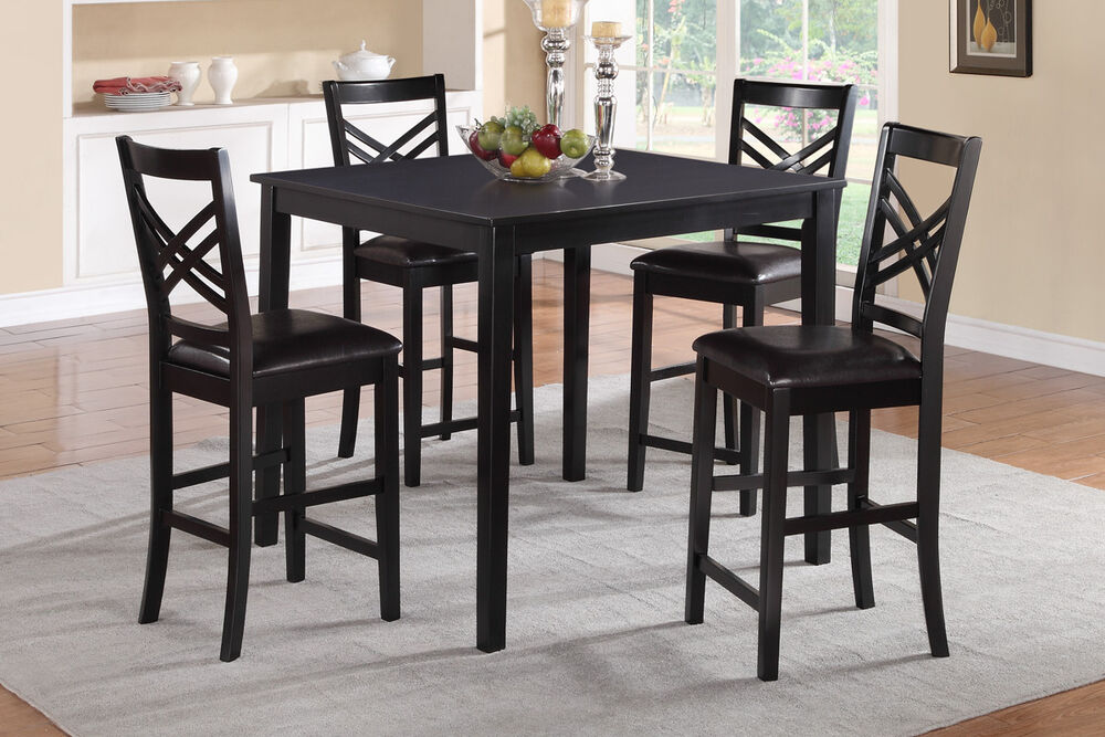 5 pc dining set counter height table black high chairs