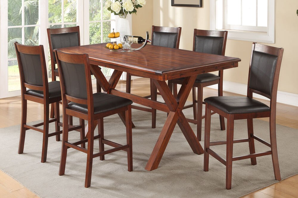 set rich acacia counter height table chair faux leather dining room
