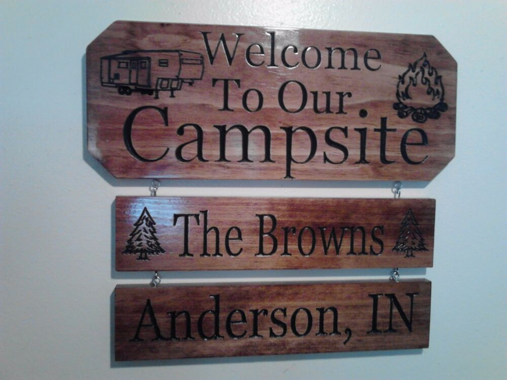 Personalized Custom Carved Campsite Camping Wood Sign