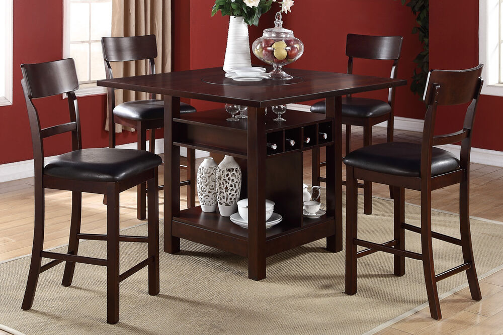 5p Dining Set Counter Height Table High Chair Buit In Lazy
