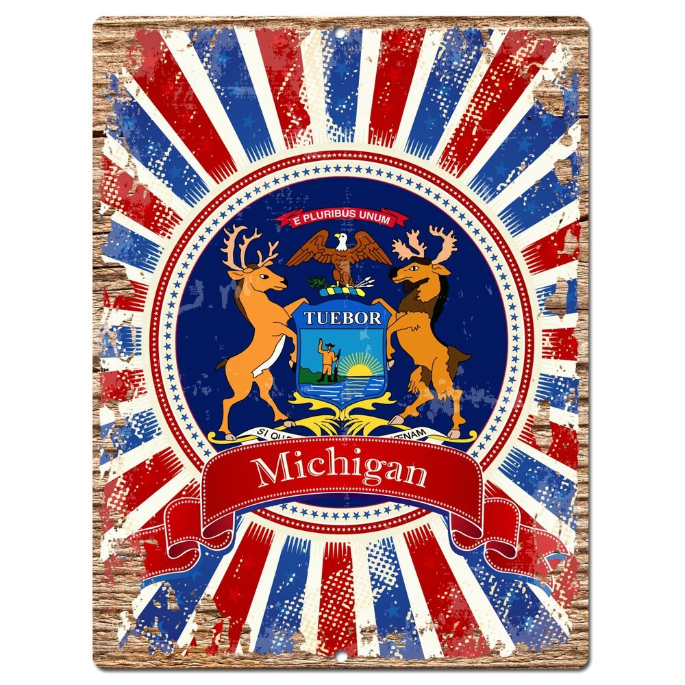 Home Decor Stores Michigan: PP1001 USA MICHIGAN State Flag Chic Sign Home Shop Store